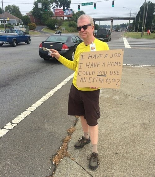 Nice Guy of the Day: He's Looking to Give YOU a Handout, Actually