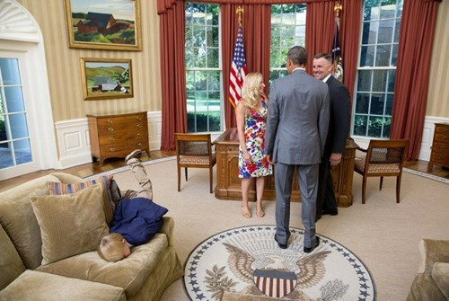 We've All Been There: The Son of a Secret Service Agent Gloriously Faceplants on the President's Couch