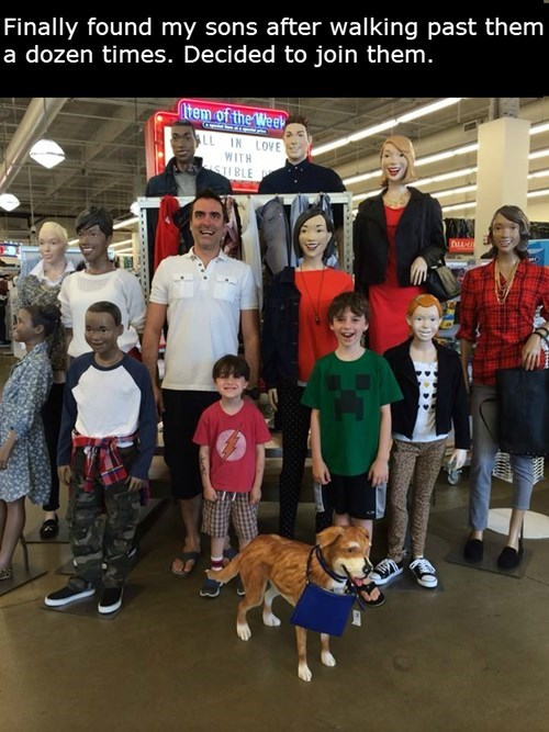 hide and seek,dad,mannequin,old navy,parenting,son,g rated