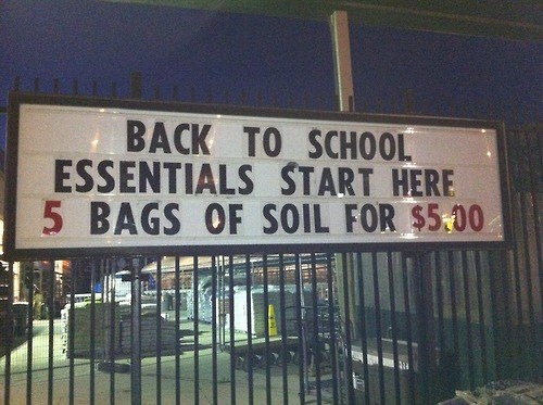back to school,soil,monday thru friday,sale,sign,g rated