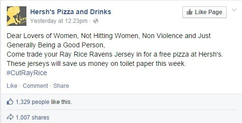 Free Stuff of the Day: A Baltimore Pizza Shop Needs Toilet Paper, Will Take Your Ray Rice Jerseys