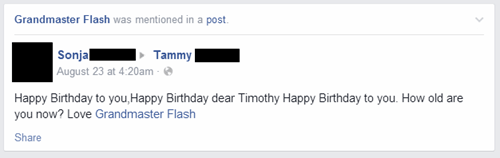 Grandmas Everywhere Don't Know How to Use Facebook, and They're Accidentally Signing Off as Grandmaster Flash