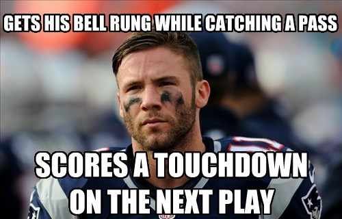 GETS HIS BELL RUNG WHILE CATCHING A PASS