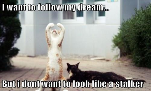 I want to follow my dream...  But i dont want to look like a stalker