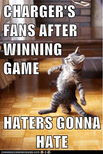 CHARGER'S FANS AFTER WINNING GAME  HATERS GONNA HATE