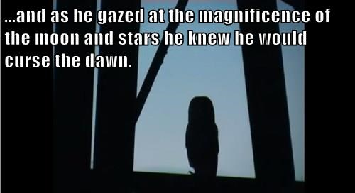 ...and as he gazed at the magnificence of the moon and stars he knew he would curse the dawn.