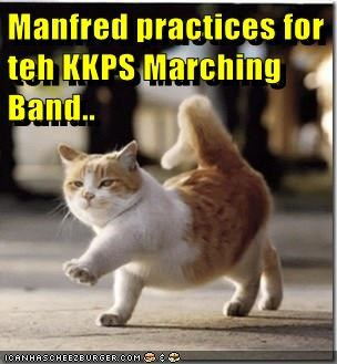 Manfred practices for teh KKPS Marching Band..