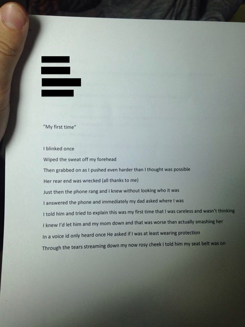 poem,car accident,funny,creative writing,School of FAIL