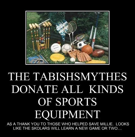 THE TABISHSMYTHES DONATE ALL  KINDS OF SPORTS EQUIPMENT