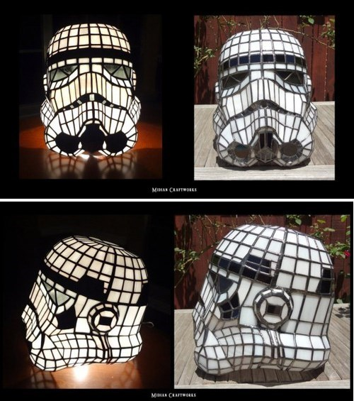 Stormtrooper Helmet Stained Glass Lamp