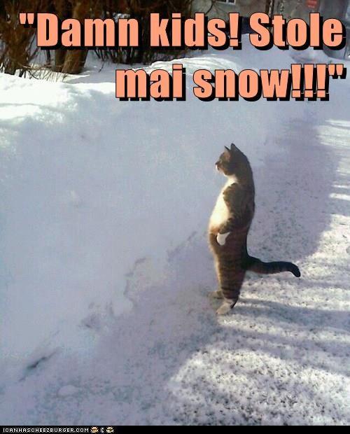 """Damn kids! Stole mai snow!!!"""