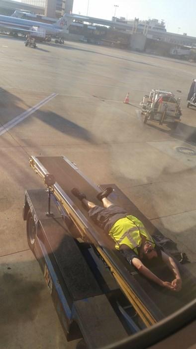 monday thru friday,relaxing,conveyor belt,airport,break