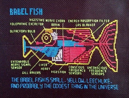 babel fish,cross stitch,for sale,Hitchhikers Guide To the Galaxy