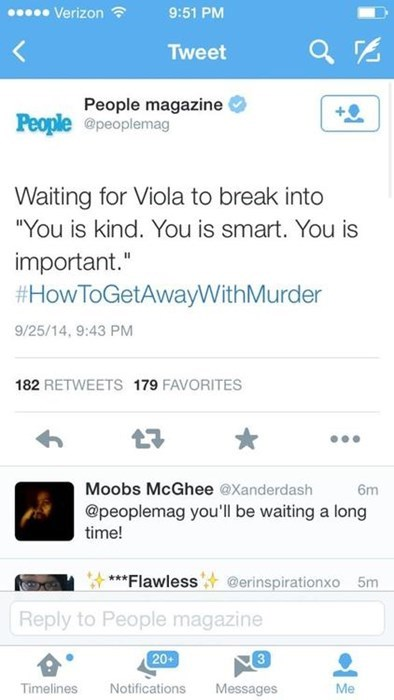 """People Magazine Tweets Out This Line From """"The Help"""" During Viola Davis's Newest Show"""