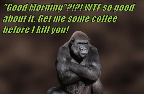 """""""Good Morning""""?!?! WTF so good about it. Get me some coffee before I kill you!"""