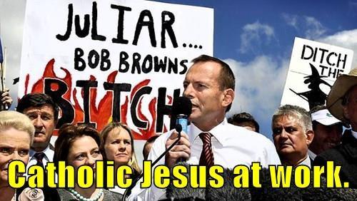 Catholic Jesus at work.