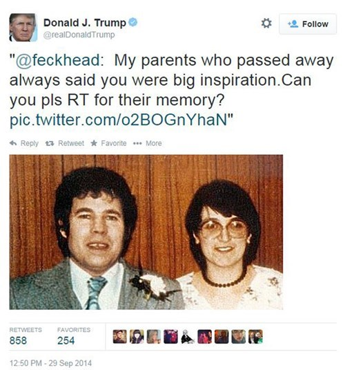 Donald Trump Was Tricked into Retweeting Photos of Convicted Serial Killers, Because Who Needs to Double-Check Anything?