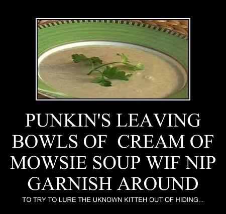 PUNKIN'S LEAVING BOWLS OF  CREAM OF MOWSIE SOUP WIF NIP GARNISH AROUND