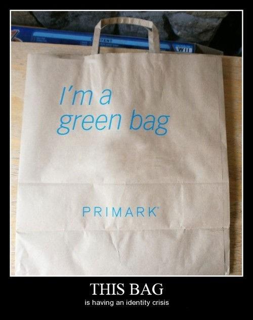 green,paper bag,funny