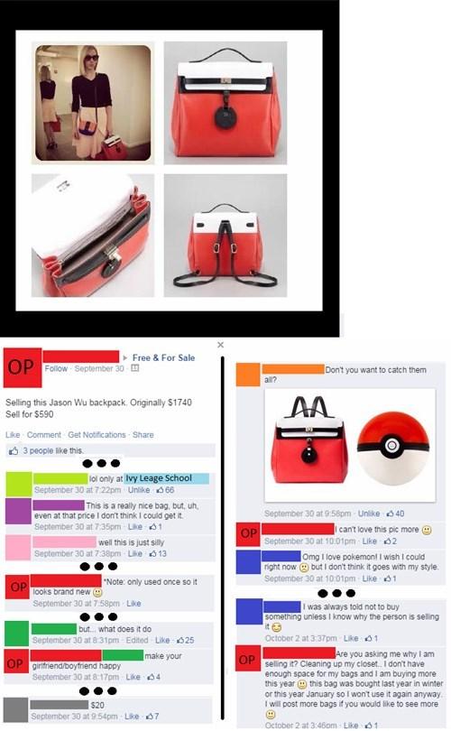 fashion,bag,for sale,free stuff,Pokémon