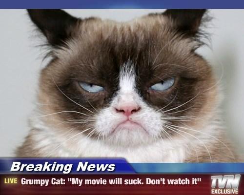 "Breaking News - Grumpy Cat: ""My movie will suck. Don't watch it"""