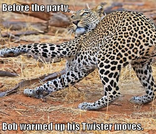 Before the party,  Bob warmed up his Twister moves.