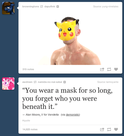 alan moore,tumblr,masks,pikachu