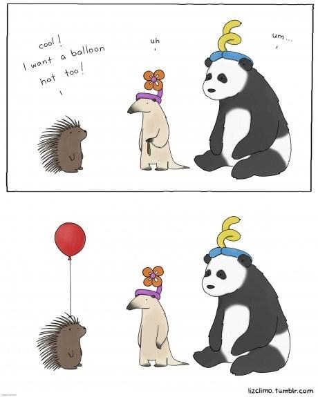 Balloons,critters,panda,hedgehogs,web comics