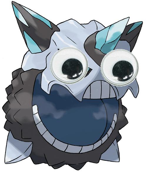 Pokémon,mega evolutions,mega glalie,googly eyes,derp
