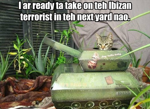 I ar ready ta take on teh Ibizan terrorist in teh next yard nao.