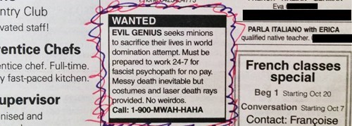 monday thru friday,minions,classified ad,job hunt,lasers,g rated