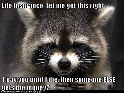 Life Insurance: Let me get this right.   I pay you until I die, then someone ELSE gets the money?
