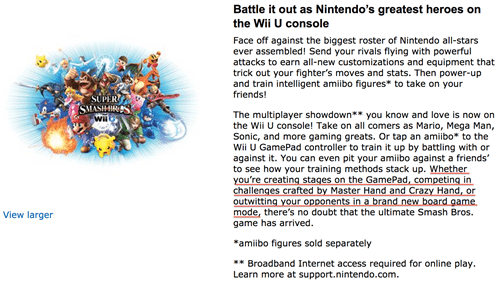 Amazon's Description of SSB on Wii U is a Little Too Helpful