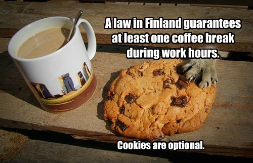 A law in Finland guarantees at least one coffee break during work hours.