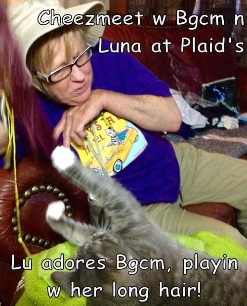 Cheezmeet w Bgcm n Luna at Plaid's  Lu adores Bgcm, playin w her long hair!