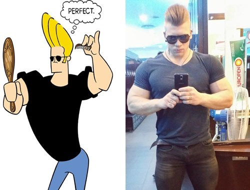 cartoons,johnny bravo,totally looks like,poorly dressed
