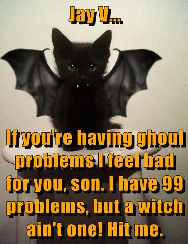 Jay V...  If you're having ghoul problems I feel bad for you, son. I have 99 problems, but a witch ain't one! Hit me.