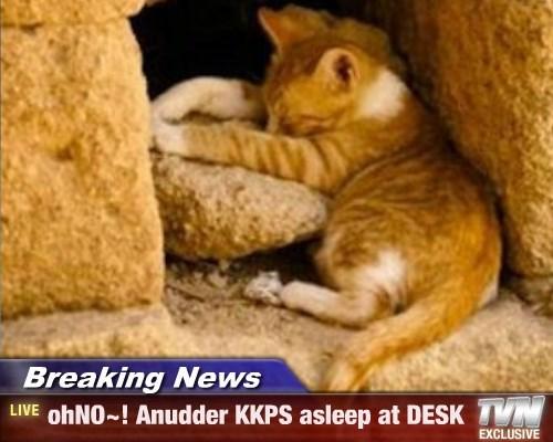 Breaking News - ohNO~! Anudder KKPS asleep at DESK