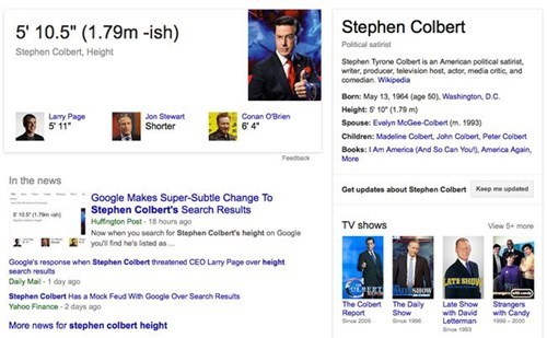 Colbert Says His Height is 5'11''. When He Complained Google Got it Wrong, This Happened.