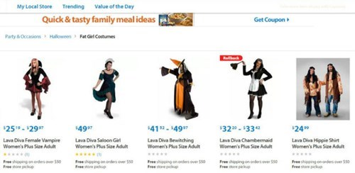 """Walmart Had a """"Fat Girl Costume"""" Category on Its Site"""