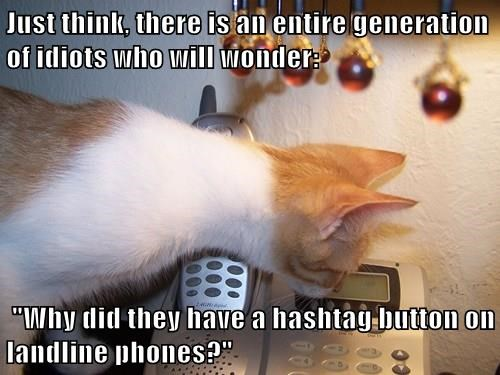 "Just think, there is an entire generation of idiots who will wonder:   ""Why did they have a hashtag button on landline phones?"""