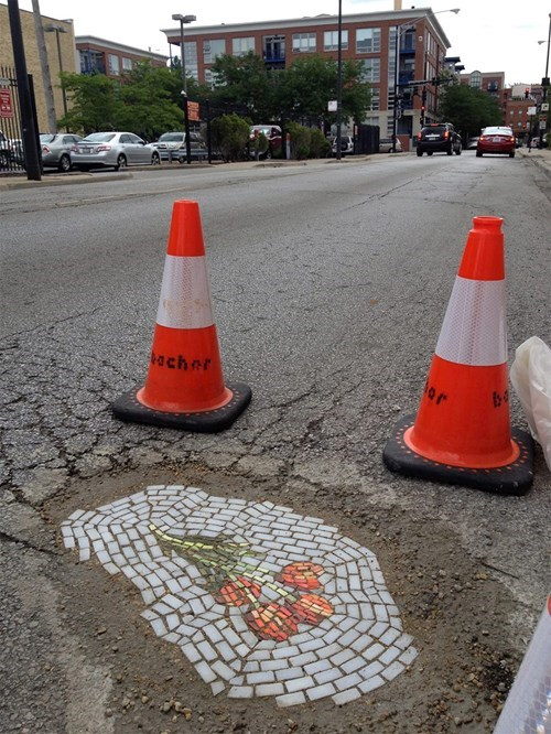 Someone in Chicago is Filling Potholes With Cool Mosaics