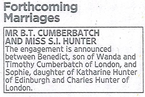 Engagement of the Day: Benedict Cumberbatch Announces Marriage Plans in Newspaper Ad