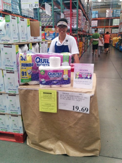 monday thru friday,costco,toilet paper,free sample