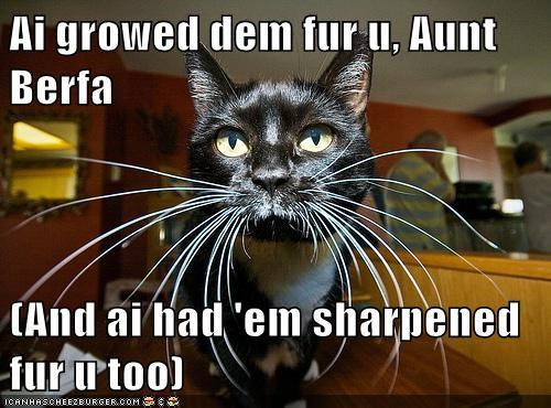Ai growed dem fur u, Aunt Berfa  (And ai had 'em sharpened fur u too)