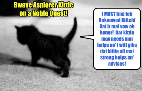Dis Bwave Asplorer Kittie embarks on an epic journey fraught wiff many danjers an' egsitements to find teh Unknown Kittie!