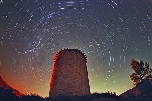 Leonid Meteors Above Torre de la Guaita