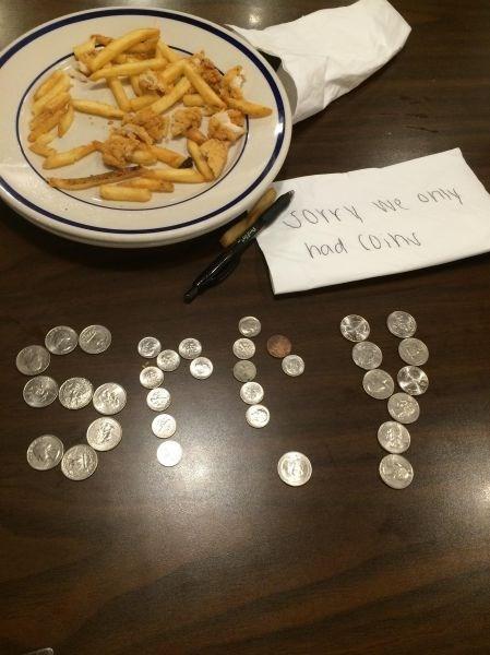 coins,monday thru friday,restaurant,waiter,note,tips