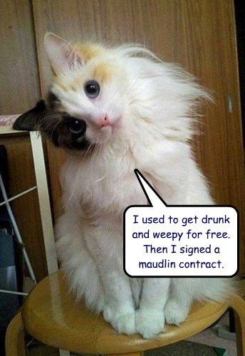 I used to get drunk and weepy for free.  Then I signed a maudlin contract.