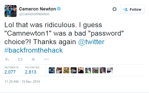 Cam Newton of the Carolina Panthers Revealed His Terrible Twitter Password After Getting Hacked